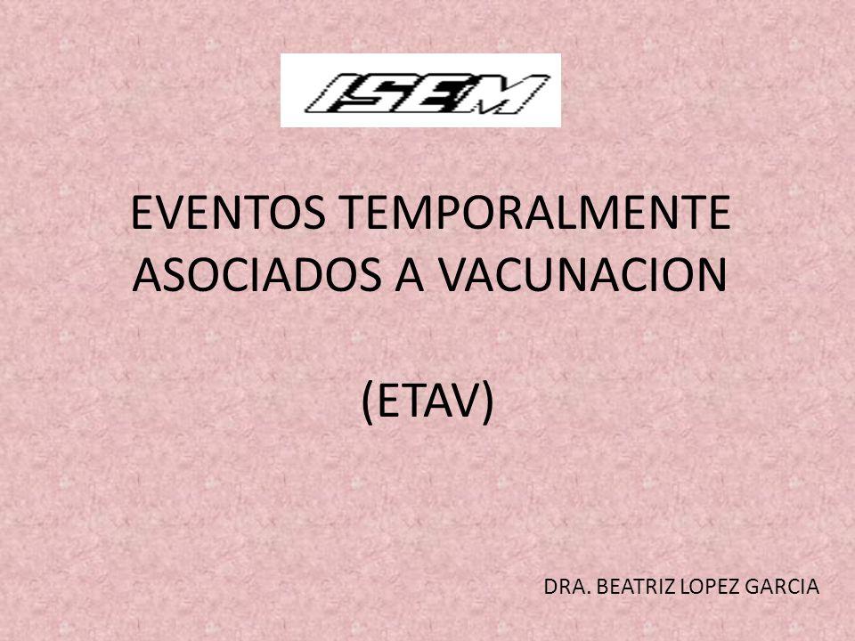 EVENTOS TEMPORALMENTE ASOCIADOS A VACUNACION (ETAV) DRA. BEATRIZ LOPEZ GARCIA