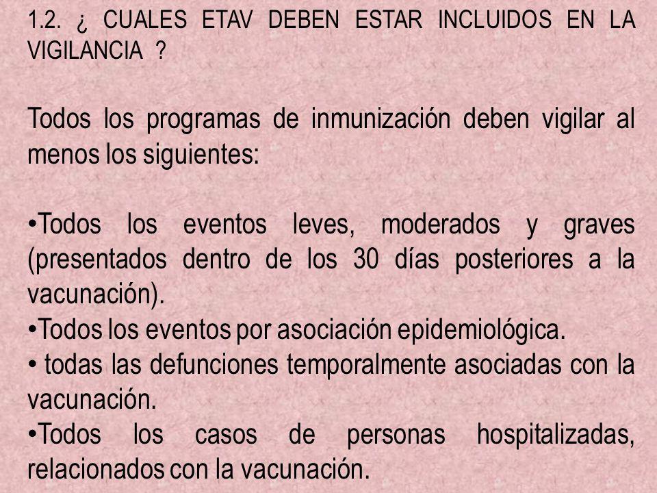 1.2. ¿ CUALES ETAV DEBEN ESTAR INCLUIDOS EN LA VIGILANCIA ? Todos los programas de inmunización deben vigilar al menos los siguientes: Todos los event