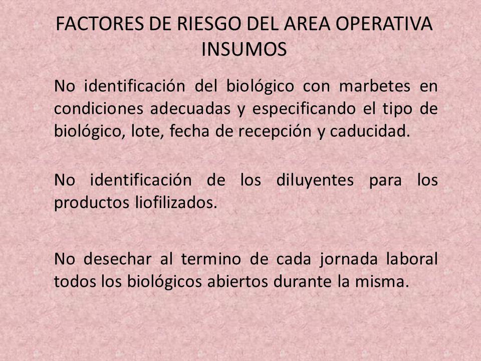 FACTORES DE RIESGO DEL AREA OPERATIVA INSUMOS No identificación del biológico con marbetes en condiciones adecuadas y especificando el tipo de biológi