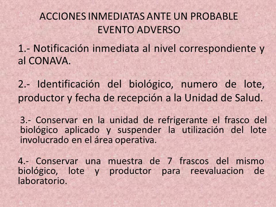 1.- Notificación inmediata al nivel correspondiente y al CONAVA. ACCIONES INMEDIATAS ANTE UN PROBABLE EVENTO ADVERSO 2.- Identificación del biológico,
