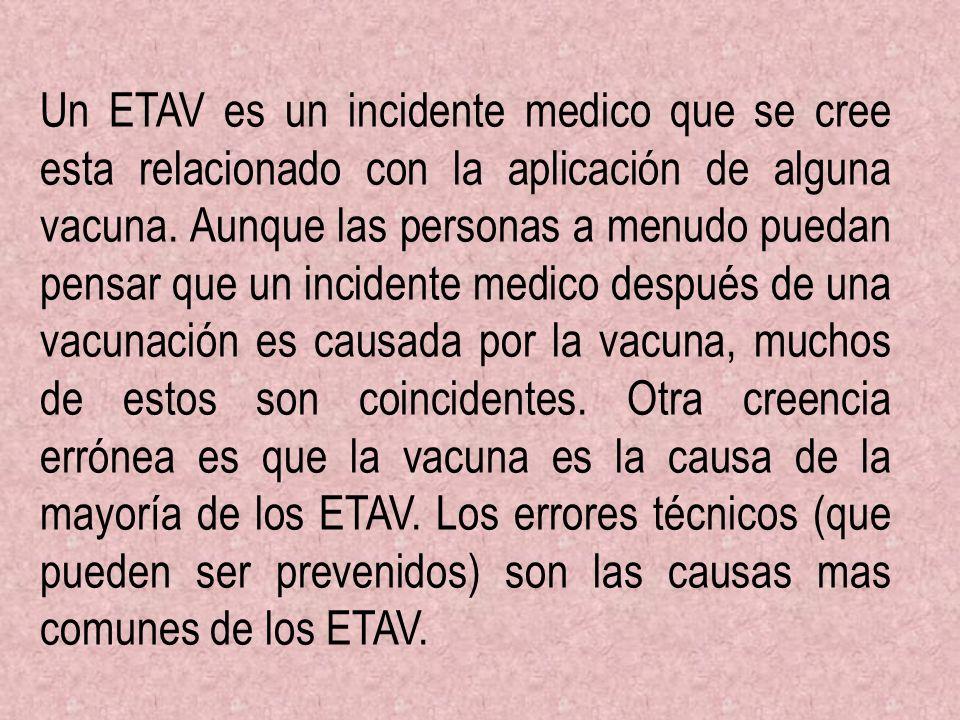 Un ETAV es un incidente medico que se cree esta relacionado con la aplicación de alguna vacuna. Aunque las personas a menudo puedan pensar que un inci