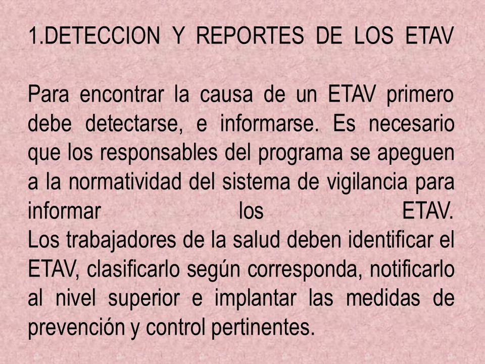 1.DETECCION Y REPORTES DE LOS ETAV Para encontrar la causa de un ETAV primero debe detectarse, e informarse. Es necesario que los responsables del pro