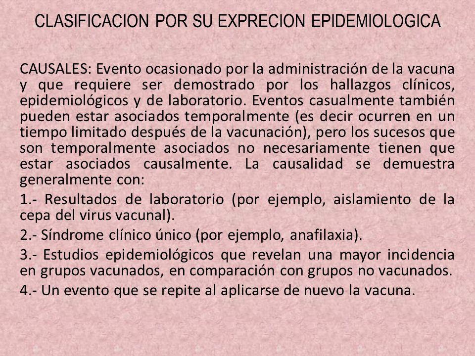 CLASIFICACION POR SU EXPRECION EPIDEMIOLOGICA CAUSALES: Evento ocasionado por la administración de la vacuna y que requiere ser demostrado por los hal