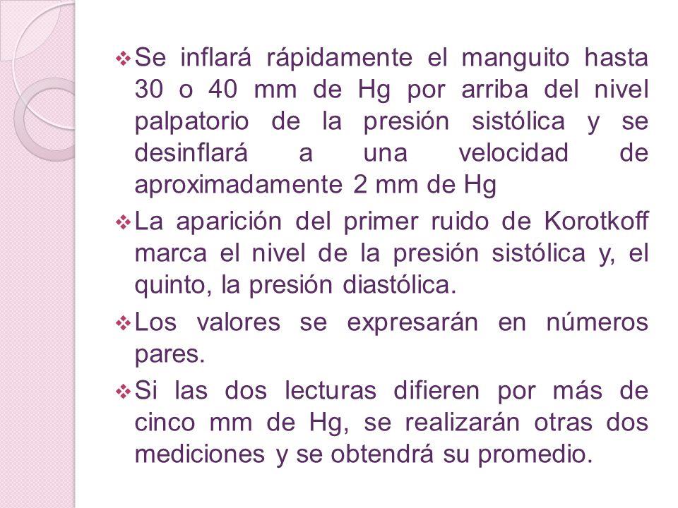Se inflará rápidamente el manguito hasta 30 o 40 mm de Hg por arriba del nivel palpatorio de la presión sistólica y se desinflará a una velocidad de a