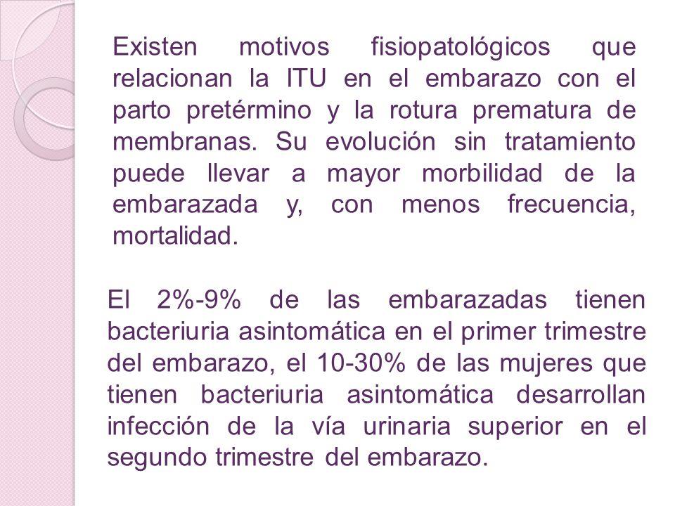 Existen motivos fisiopatológicos que relacionan la ITU en el embarazo con el parto pretérmino y la rotura prematura de membranas. Su evolución sin tra