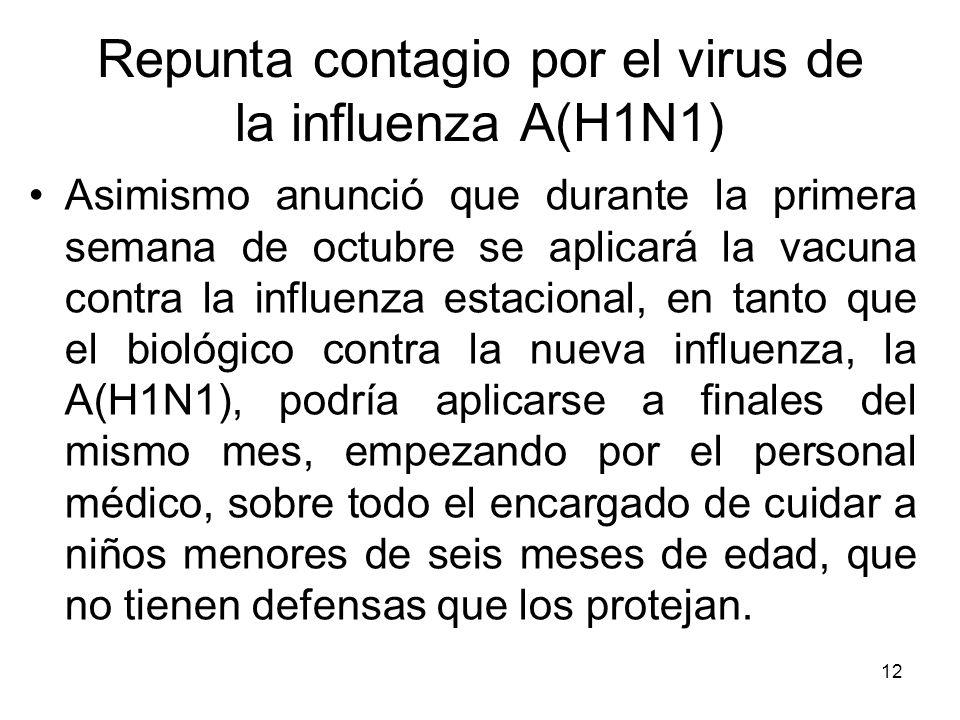 12 Asimismo anunció que durante la primera semana de octubre se aplicará la vacuna contra la influenza estacional, en tanto que el biológico contra la