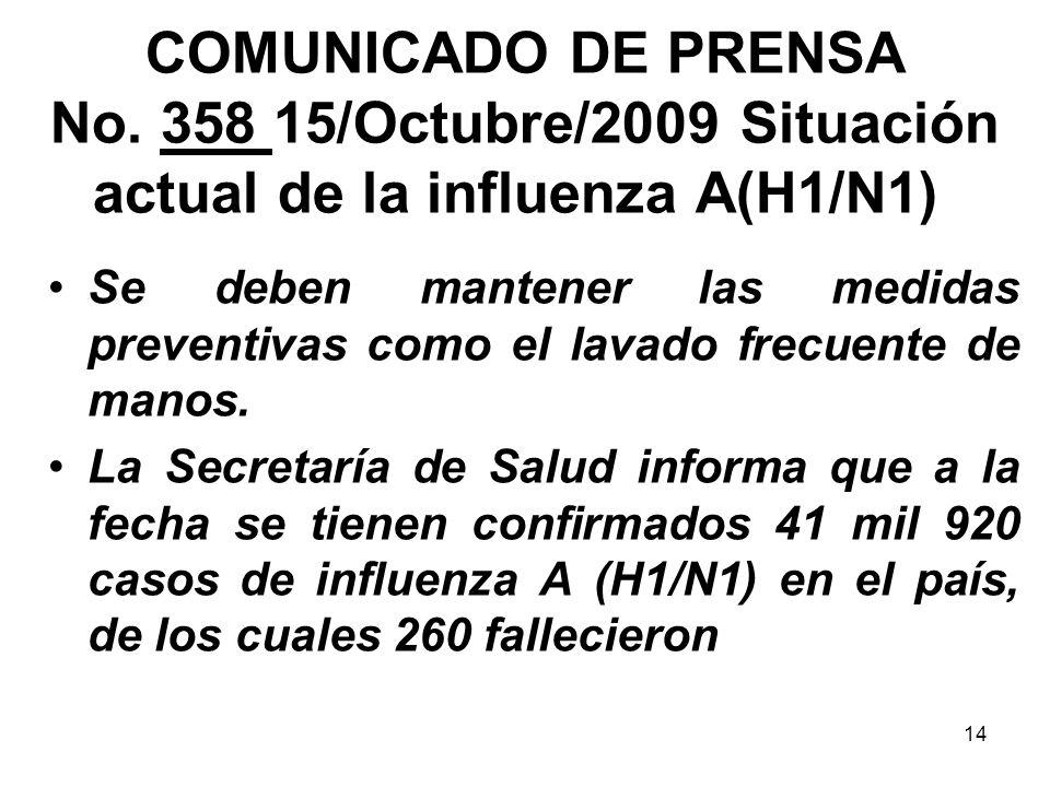 14 COMUNICADO DE PRENSA No. 358 15/Octubre/2009 Situación actual de la influenza A(H1/N1) Se deben mantener las medidas preventivas como el lavado fre