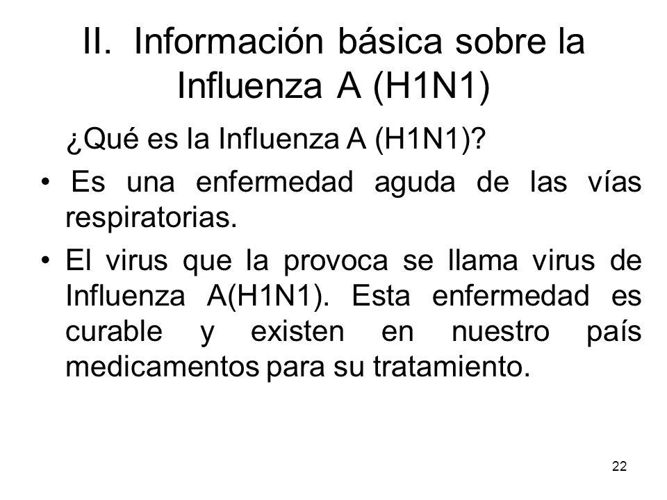 22 II. Información básica sobre la Influenza A (H1N1) ¿Qué es la Influenza A (H1N1)? Es una enfermedad aguda de las vías respiratorias. El virus que l