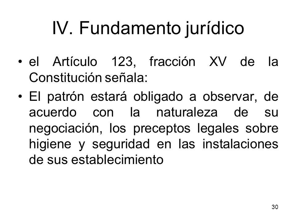 30 el Artículo 123, fracción XV de la Constitución señala: El patrón estará obligado a observar, de acuerdo con la naturaleza de su negociación, los p
