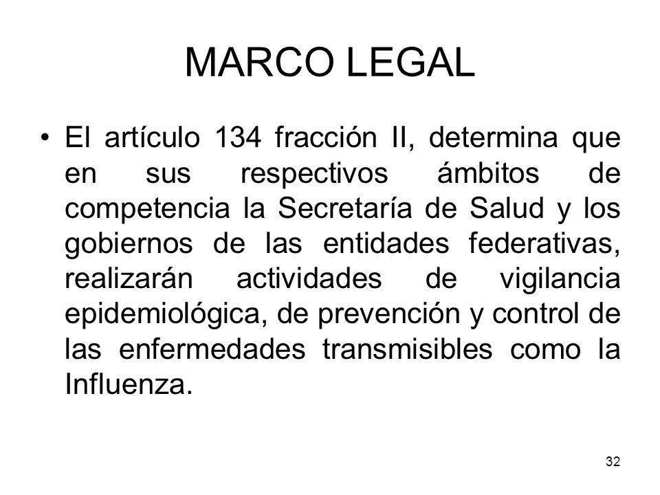 32 El artículo 134 fracción II, determina que en sus respectivos ámbitos de competencia la Secretaría de Salud y los gobiernos de las entidades federa