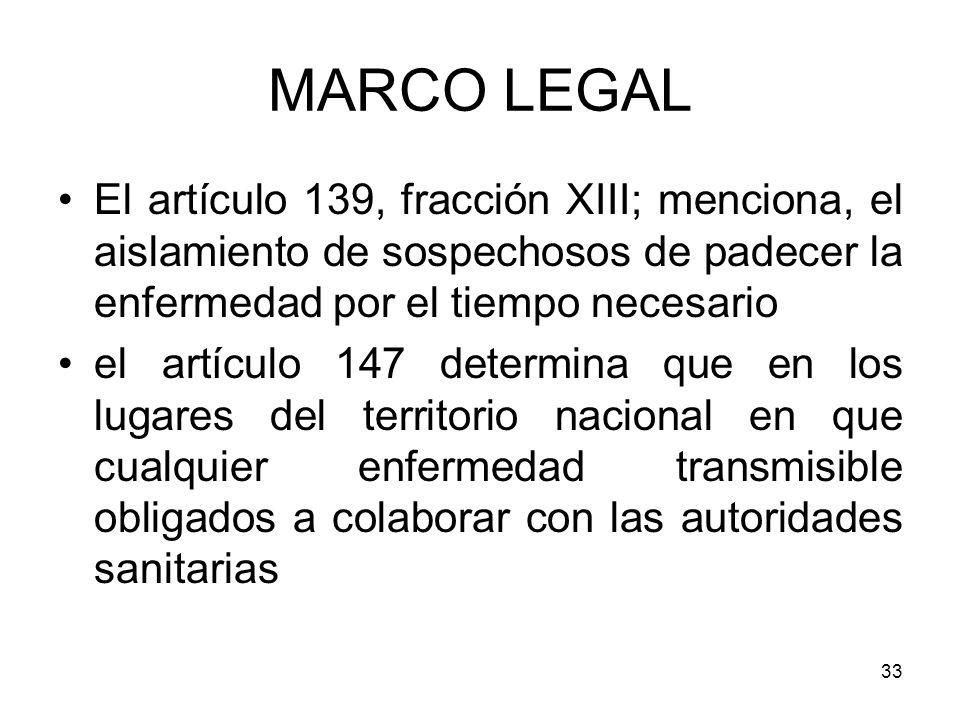 33 El artículo 139, fracción XIII; menciona, el aislamiento de sospechosos de padecer la enfermedad por el tiempo necesario el artículo 147 determina