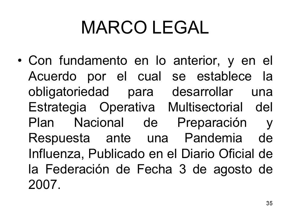 35 Con fundamento en lo anterior, y en el Acuerdo por el cual se establece la obligatoriedad para desarrollar una Estrategia Operativa Multisectorial