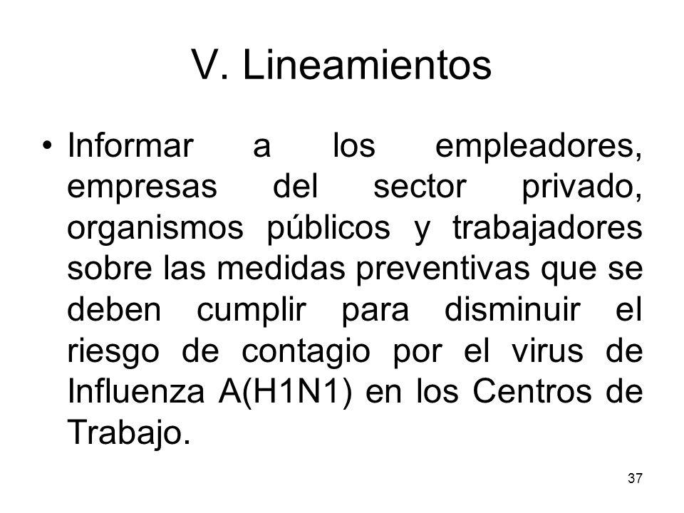 37 V. Lineamientos Informar a los empleadores, empresas del sector privado, organismos públicos y trabajadores sobre las medidas preventivas que se de