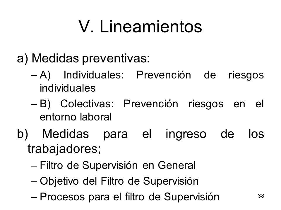 38 a) Medidas preventivas: –A) Individuales: Prevención de riesgos individuales –B) Colectivas: Prevención riesgos en el entorno laboral b) Medidas pa