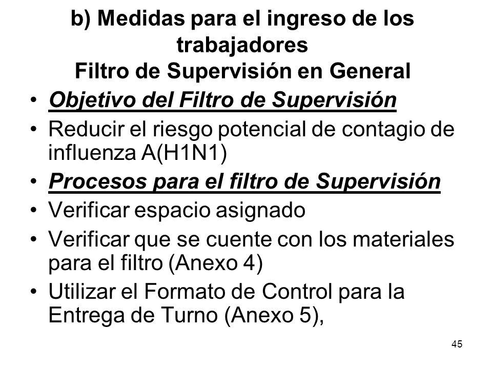45 Objetivo del Filtro de Supervisión Reducir el riesgo potencial de contagio de influenza A(H1N1) Procesos para el filtro de Supervisión Verificar es