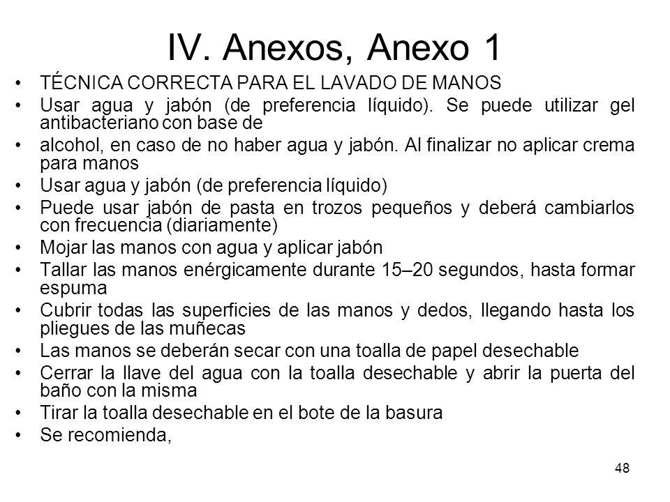 48 IV. Anexos, Anexo 1 TÉCNICA CORRECTA PARA EL LAVADO DE MANOS Usar agua y jabón (de preferencia líquido). Se puede utilizar gel antibacteriano con b