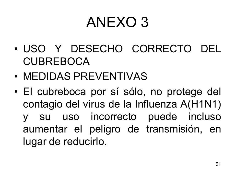 51 ANEXO 3 USO Y DESECHO CORRECTO DEL CUBREBOCA MEDIDAS PREVENTIVAS El cubreboca por sí sólo, no protege del contagio del virus de la Influenza A(H1N1