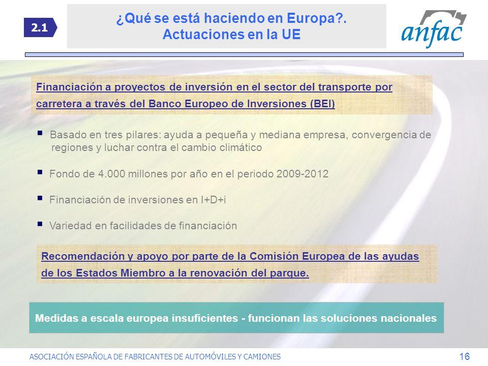 ASOCIACIÓN ESPAÑOLA DE FABRICANTES DE AUTOMÓVILES Y CAMIONES 16 Financiación a proyectos de inversión en el sector del transporte por carretera a trav