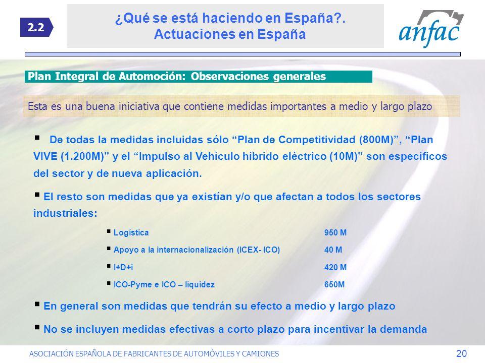 ASOCIACIÓN ESPAÑOLA DE FABRICANTES DE AUTOMÓVILES Y CAMIONES 20 Plan Integral de Automoción: Observaciones generales 2.2 De todas la medidas incluidas