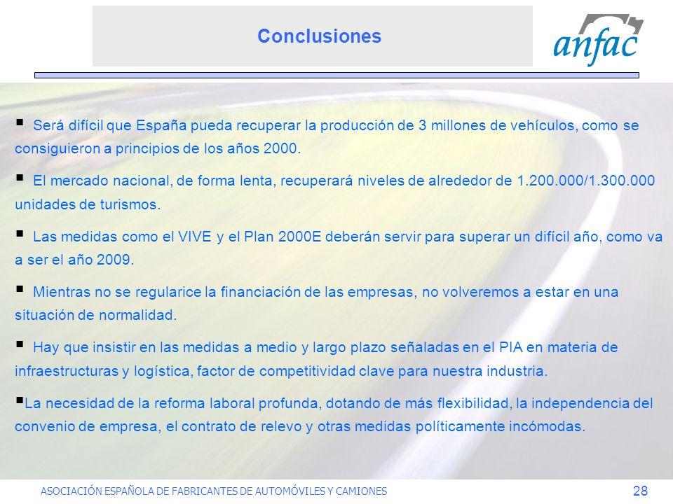 ASOCIACIÓN ESPAÑOLA DE FABRICANTES DE AUTOMÓVILES Y CAMIONES 28 Será difícil que España pueda recuperar la producción de 3 millones de vehículos, como