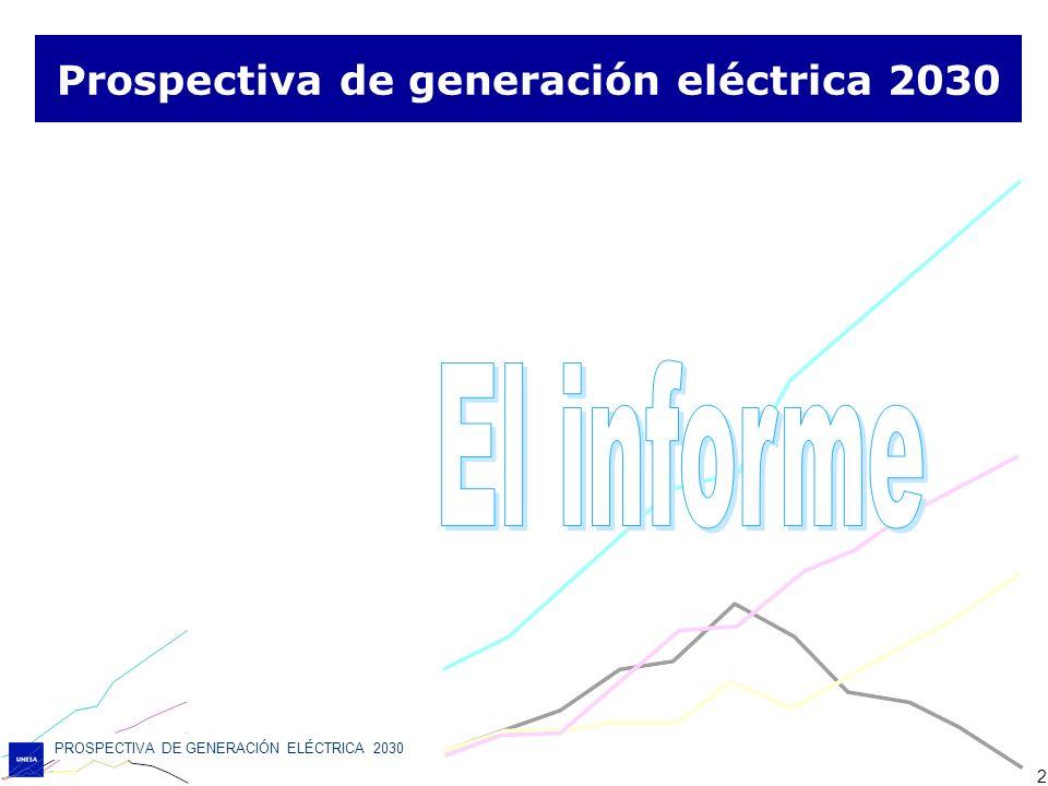PROSPECTIVA DE GENERACIÓN ELÉCTRICA 2030 33 Conclusiones Es fundamental para el sistema eléctrico mantener el parque nuclear existente, desde los puntos de vista: de emisiones de gases de efecto invernadero, de reducción de la dependencia energética, de laminación de los costes del sistema y de las necesidades de inversión.