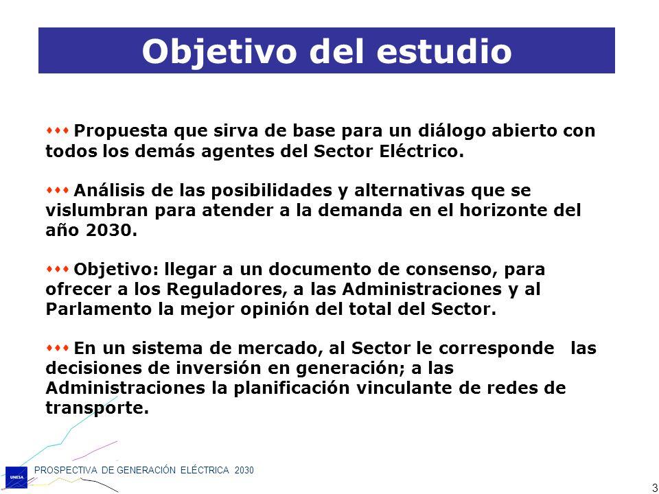 PROSPECTIVA DE GENERACIÓN ELÉCTRICA 2030 3 Propuesta que sirva de base para un diálogo abierto con todos los demás agentes del Sector Eléctrico. Análi