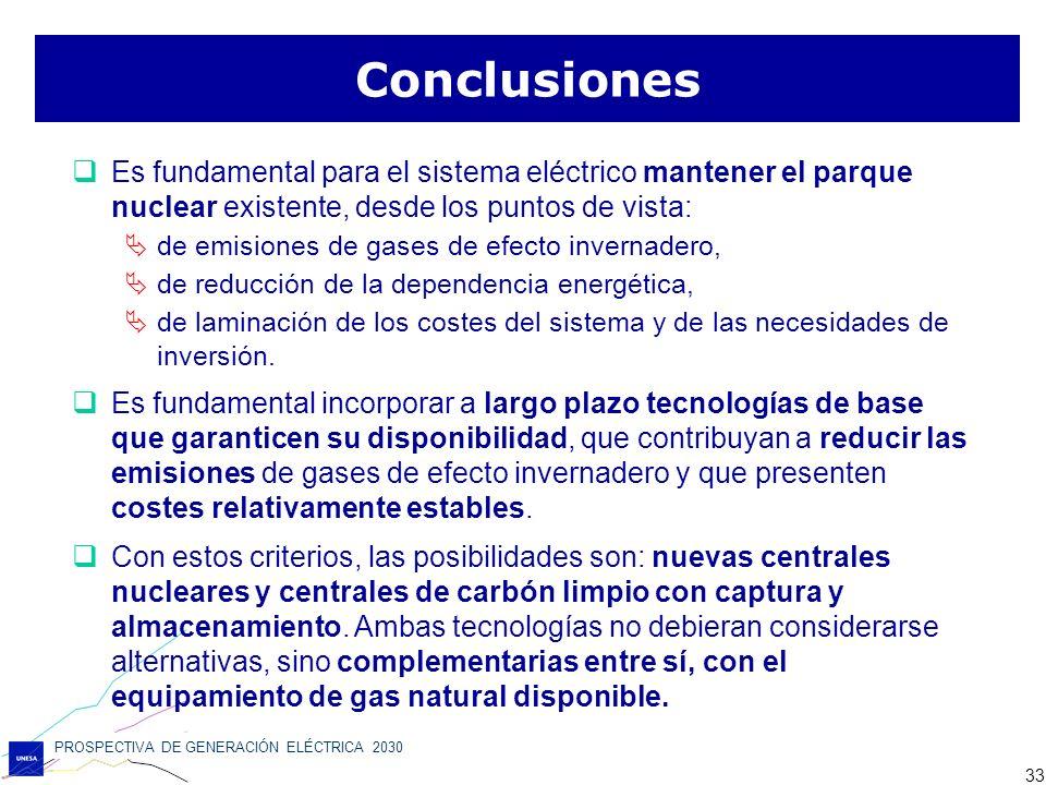 PROSPECTIVA DE GENERACIÓN ELÉCTRICA 2030 33 Conclusiones Es fundamental para el sistema eléctrico mantener el parque nuclear existente, desde los punt