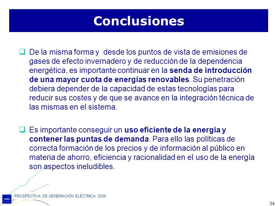 PROSPECTIVA DE GENERACIÓN ELÉCTRICA 2030 34 De la misma forma y desde los puntos de vista de emisiones de gases de efecto invernadero y de reducción d