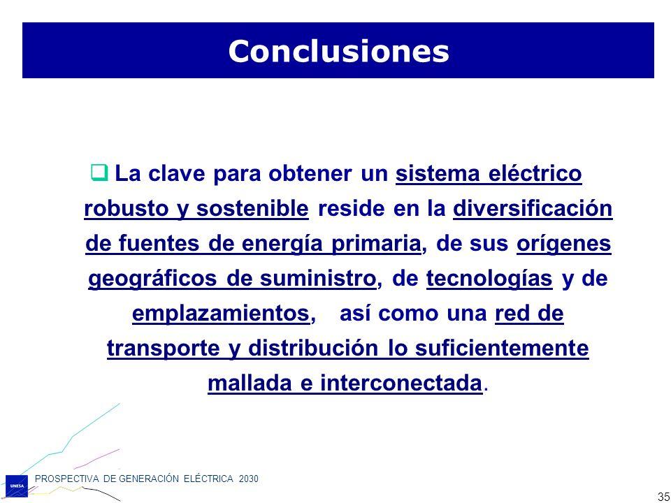 PROSPECTIVA DE GENERACIÓN ELÉCTRICA 2030 35 La clave para obtener un sistema eléctrico robusto y sostenible reside en la diversificación de fuentes de