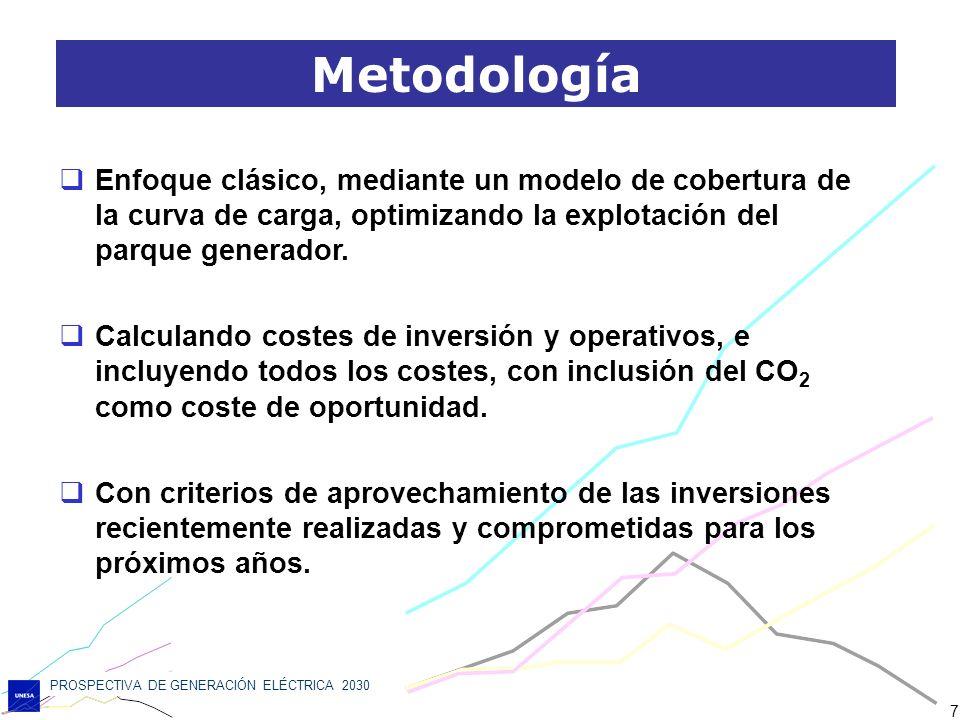 PROSPECTIVA DE GENERACIÓN ELÉCTRICA 2030 7 Enfoque clásico, mediante un modelo de cobertura de la curva de carga, optimizando la explotación del parqu