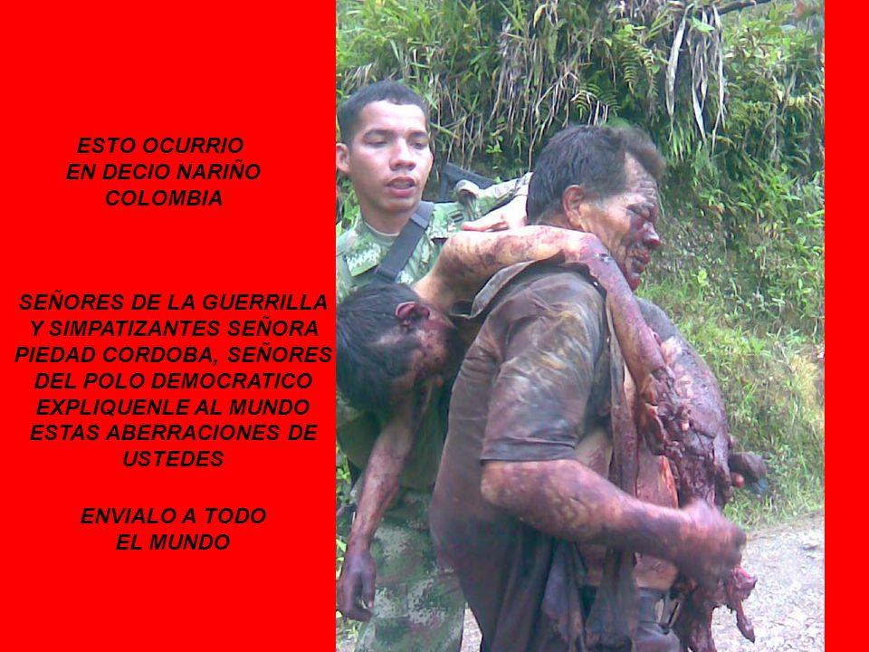 ESTO OCURRIO EN DECIO NARIÑO COLOMBIA SEÑORES DE LA GUERRILLA Y SIMPATIZANTES SEÑORA PIEDAD CORDOBA, SEÑORES DEL POLO DEMOCRATICO EXPLIQUENLE AL MUNDO