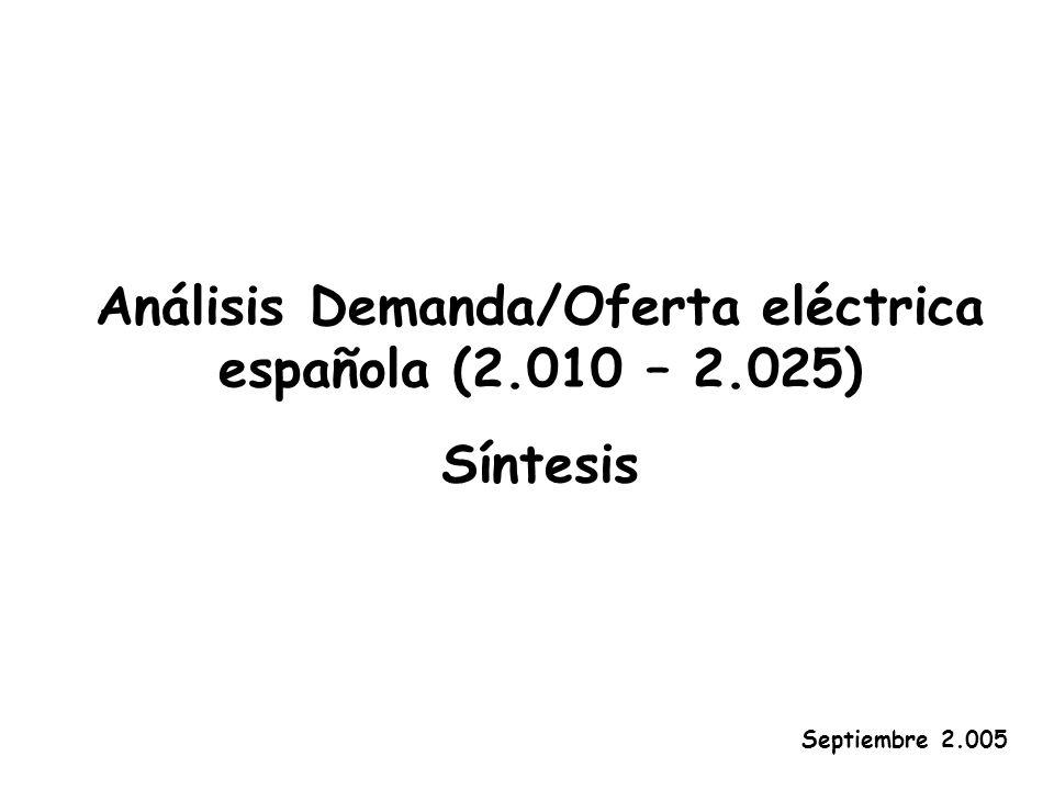 Análisis Demanda/Oferta eléctrica española (2.010 – 2.025) Síntesis Septiembre 2.005