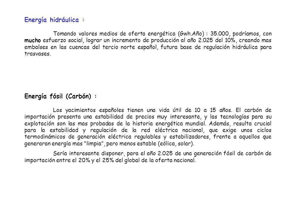 Tomando valores medios de oferta energética (Gwh.Año) : 35.000, podríamos, con mucho esfuerzo social, lograr un incremento de producción al año 2.025 del 10%, creando mas embalses en las cuencas del tercio norte español, futura base de regulación hidráulica para trasvases.