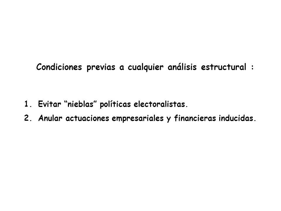 Condiciones previas a cualquier análisis estructural : 1.Evitar nieblas políticas electoralistas.