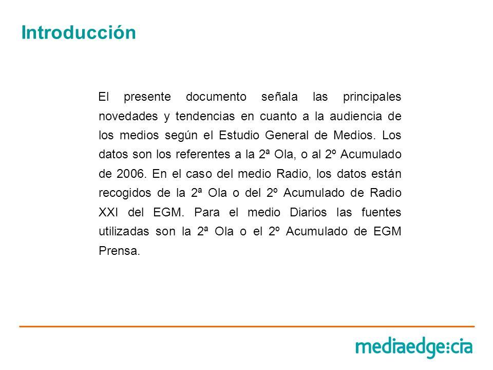 Introducción El presente documento señala las principales novedades y tendencias en cuanto a la audiencia de los medios según el Estudio General de Me