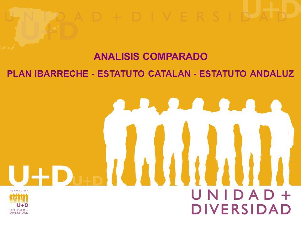 El objeto del presente estudio es ofrecer a los lectores un resumen comparado de los artículos más relevantes que se recogen en el Plan Ibarreche-Estatuto Catalán-Estatuto Andaluz.