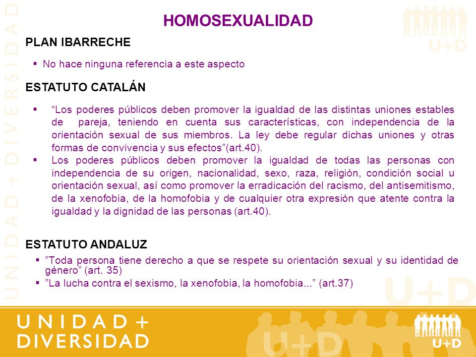 HOMOSEXUALIDAD Toda persona tiene derecho a que se respete su orientación sexual y su identidad de género (art. 35) La lucha contra el sexismo, la xen