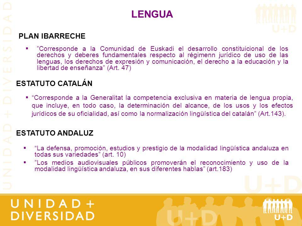 LENGUA La defensa, promoción, estudios y prestigio de la modalidad lingüística andaluza en todas sus variedades (art. 10) Los medios audiovisuales púb