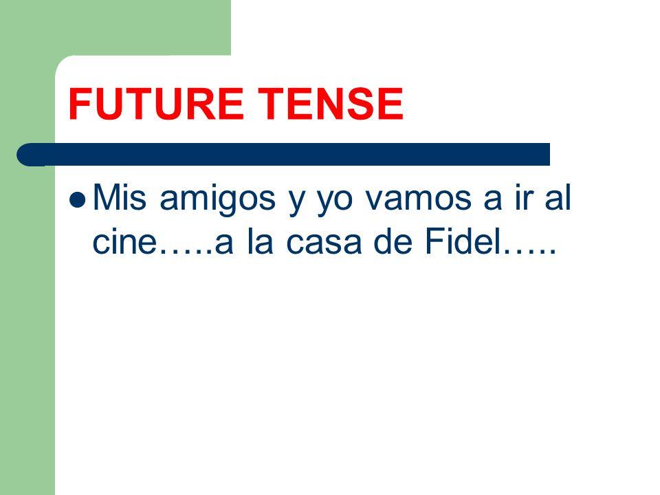 FUTURE TENSE Mis amigos y yo vamos a ir al cine…..a la casa de Fidel…..