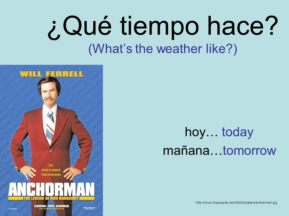 ¿Qué tiempo hace? (Whats the weather like?) hoy… today mañana…tomorrow http://www.impawards.com/2004/posters/anchorman.jpg