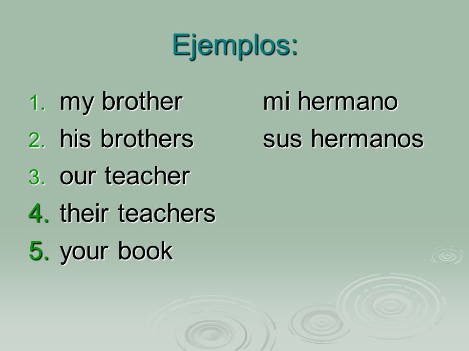 Ejemplos: 1. my brothermi hermano 2. his brotherssus hermanos 3.