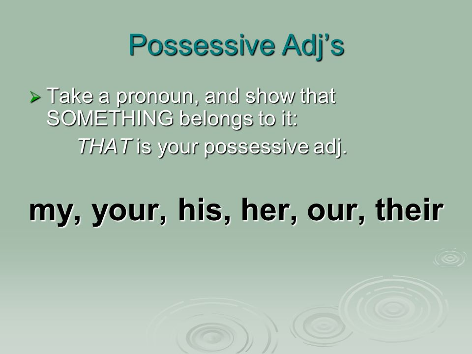 Possessive Adjs Take a pronoun, and show that SOMETHING belongs to it: Take a pronoun, and show that SOMETHING belongs to it: THAT is your possessive adj.