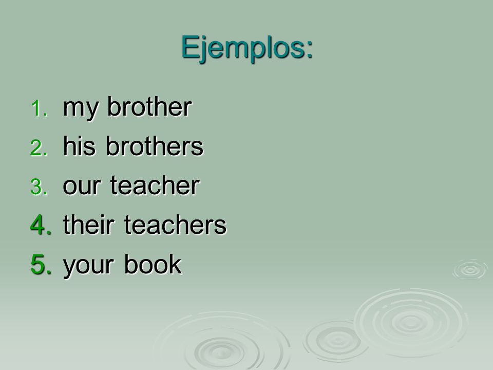 Ejemplos: 1. my brother 2. his brothers 3. our teacher 4.their teachers 5.your book