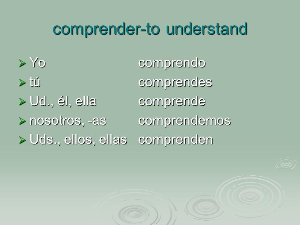 comprender-to understand Yo comprendo Yo comprendo túcomprendes túcomprendes Ud., él, ellacomprende Ud., él, ellacomprende nosotros, -ascomprendemos nosotros, -ascomprendemos Uds., ellos, ellascomprenden Uds., ellos, ellascomprenden