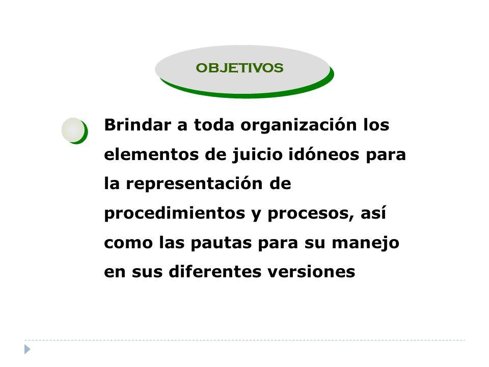 OBJETIVOS Brindar a toda organización los elementos de juicio idóneos para la representación de procedimientos y procesos, así como las pautas para su