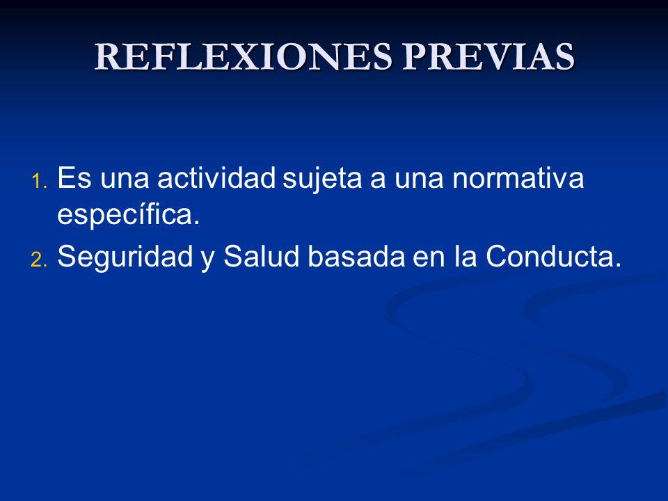 REFLEXIONES PREVIAS 1. 1. Es una actividad sujeta a una normativa específica. 2. 2. Seguridad y Salud basada en la Conducta.