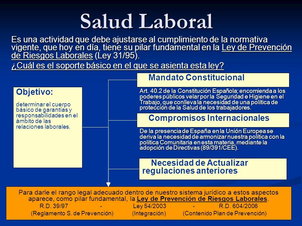 Salud Laboral Es una actividad que debe ajustarse al cumplimiento de la normativa vigente, que hoy en día, tiene su pilar fundamental en la Ley de Pre