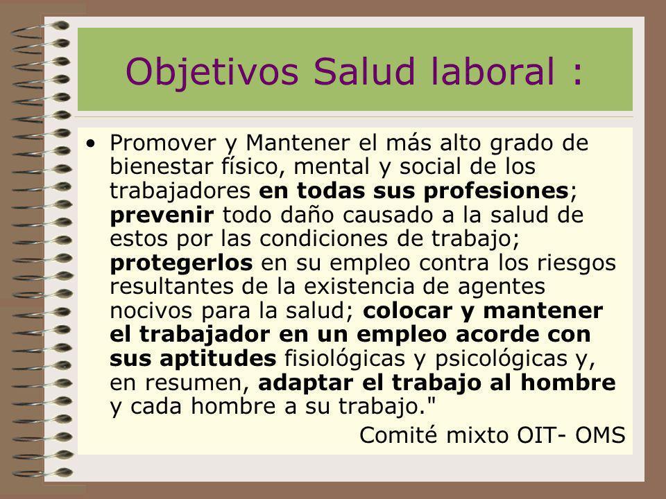 Objetivos Salud laboral : Promover y Mantener el más alto grado de bienestar físico, mental y social de los trabajadores en todas sus profesiones; pre