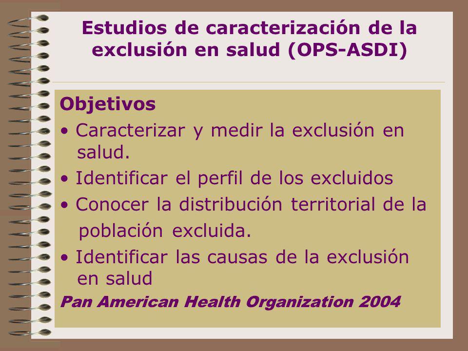 Estudios de caracterización de la exclusión en salud (OPS-ASDI) Objetivos Caracterizar y medir la exclusión en salud. Identificar el perfil de los exc