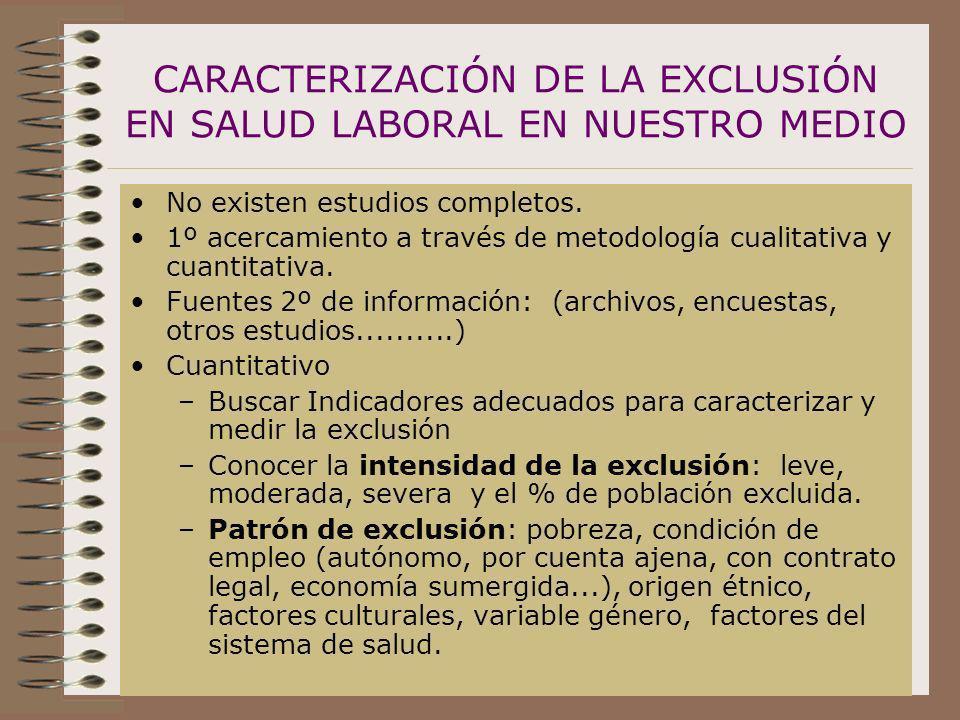 CARACTERIZACIÓN DE LA EXCLUSIÓN EN SALUD LABORAL EN NUESTRO MEDIO No existen estudios completos. 1º acercamiento a través de metodología cualitativa y
